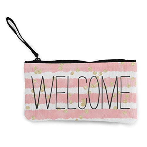 Beatybag Canvas Coin Purse with Zipper, Women's Trendy Blush Pink Watercolor Stripes Gold Confetti Purse Clutch Bag Card -
