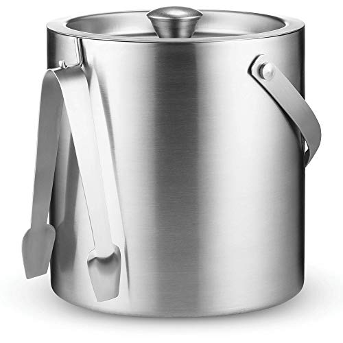 Double-Wall Stainless-Steel Insulated Ice Bucket With Lid and Ice Tong [3 Liter] Included Strainer Keeps Ice Cold & Dry, comfortable Carry Handle, Great for Home Bar, Chilling Beer, Champagne and wine