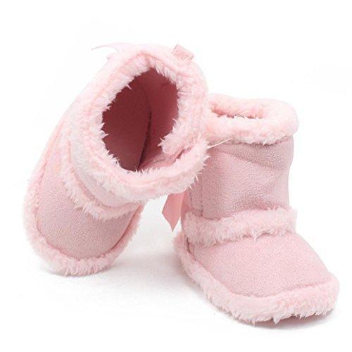 Clode® Kleinkind Mädchen Solide Farbe Warm Halten Baumwolle Schneestiefel Weiche Sohlen Krippe Schuhe Stiefel Winterstiefel Rosa
