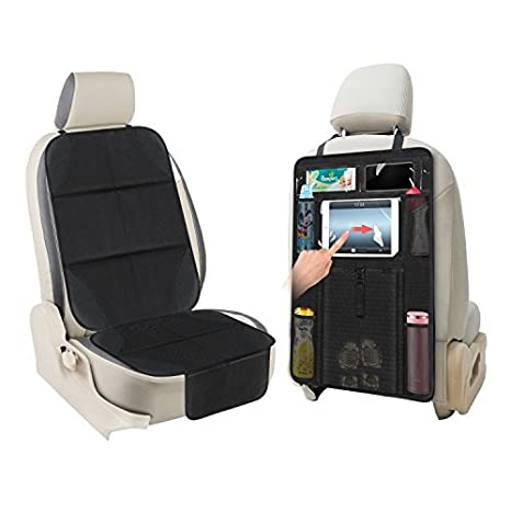 Cool Aoafun 1 Set Car Seat Protectorkick Mat Auto Seat Back Protector Extra Large Storage Pocket Prevents Dirt And Damage Allows Easy Access To Baby Cjindustries Chair Design For Home Cjindustriesco