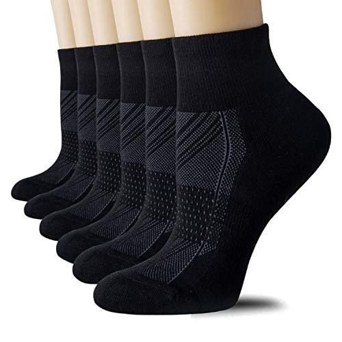 Socks Toe Ankle (CelerSport Running Ankle Socks for Men Women(6 Pair Pack)- Sport Athletic Socks with Cushion, Seamless Toe, Black, Medium)