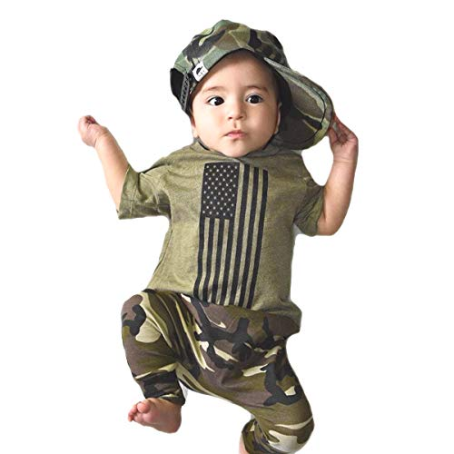 4th of July Toddler Baby Boy Pant Set American Flag T-Shirt + Camouflage Trousers 2Pcs Summer Outfit Set 1-5T(12-24 Months, Camouflage)