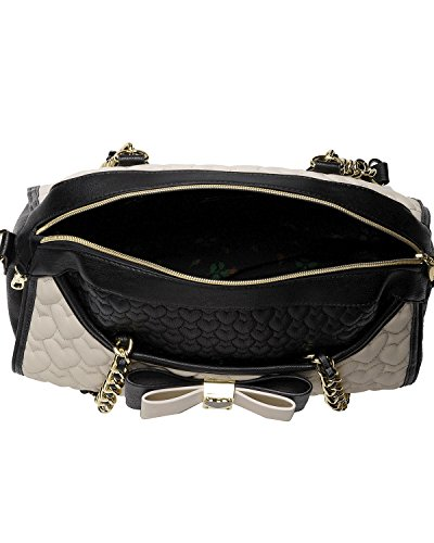 Betsey Johnson Be My Honey Buns Dome Satchel Top Handle Bag,Black,One Size