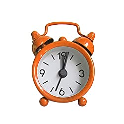 Barhalk 2pcs Creative Cute Mini Metal Silent Ultra Small Alarm Clock,Electronic Compact Decorative Alarm Clock for Living Room Bedroom Home Office,Light Weight Travel Size,Easy to Read (Orange)