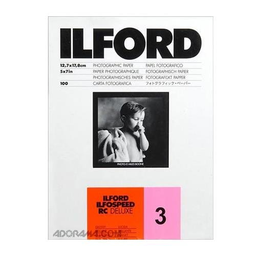Ilford Ilfospeed RC Deluxe Resin Coated Black & White Enlarging Paper - 5x7''-100 Sheets - 1M - Glossy Surface - Grade 3 - for commercial, press, industrial, advertising, and display work