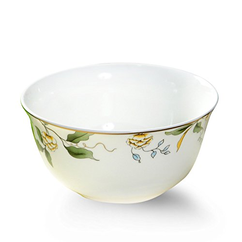 AnnoCasa 6 Pieces Thin & Lightweight Bone China Bowl Sets, for Rice, Soup, Fruit Cheese, Milk and Yogurt, 4.5 inches White with Champs Elysees