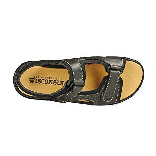 Wisconsin , Herren Sandalen schwarz Schwarz