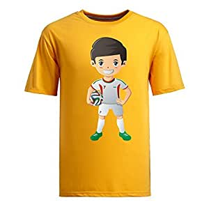 Custom Mens Cotton Short Sleeve Round Neck T-shirt,2014 Brazil FIFA World Cup UP72 yellow