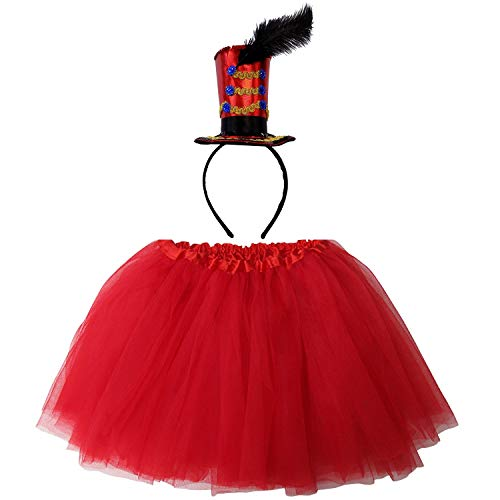 So Sydney Kids Teen Adult Plus 2-3 Pc Tutu Skirt, Ears, Tail Headband Costume Halloween Outfit (M (Kid Size), Ringmaster Red)