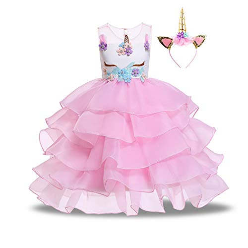 Girls Unicorn Dress Pageant Flower Costume Baby Girl Party Dress Kids Ball Gowns 0.5-10Y ()