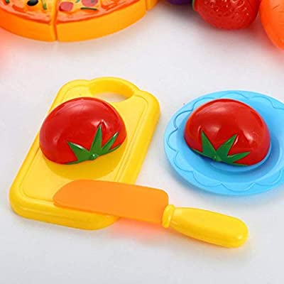 Funslane Pretend Play Food Set, 24 Pcs Cutting Food Play Set for Kids, Kitchen Food Toys Fun Cutting Pizza Fruits Vegetables: Toys & Games