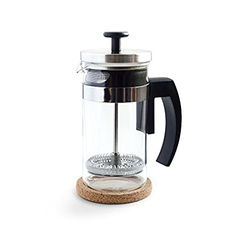 Brillante Small French Press Coffee Maker with 12 Ounce / 3 Cup Glass Beaker - Single Serve Cafetiere and Tea Maker (All Start 560)