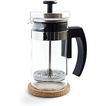 Brillante Small French Press Coffee Maker with 12 Ounce / 3 Cup Glass Beaker - Single Serve Cafetiere and Tea Maker BR-CP1-350