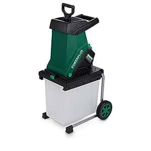 Powerplus eléctrico hoja Shredder 2500W Mulcher con 40mm de diámetro, Capacidad de corte, 50L de colección caja y con ruedas para portabilidad POW6451–2año de garantía casa usuario–perfecto para jardín compostaje