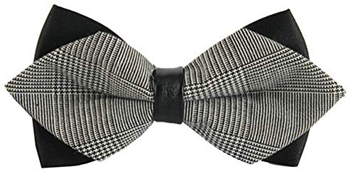 Flairs New York Gentleman's Diamond Pointed Pre-Tied Bow Tie (Grey Tweed/Black) ()
