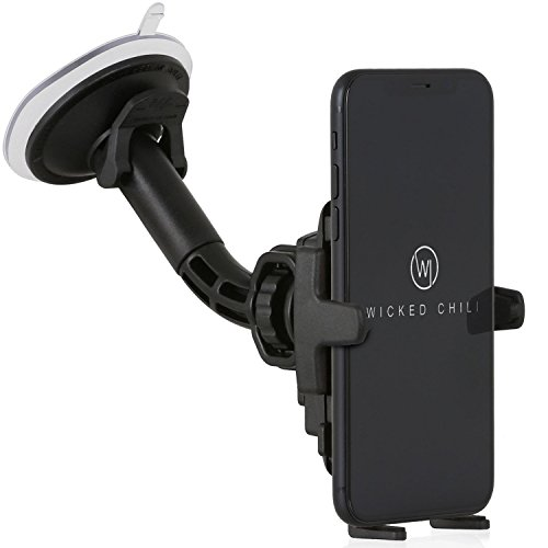 Wicked Chili Car Mount Universal Phone Holder for Apple iPhone X/8/7/6S/6/SE/5S/5C/5/4/SE II iPod Touch Suction Cup Carmount for Smartphone (Made in Germany, for Cover and Case)