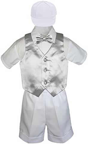 6pc Baby Toddler Little Boys White Shorts Extra Vest Bow Tie Sets S-4T (3T, Silver)