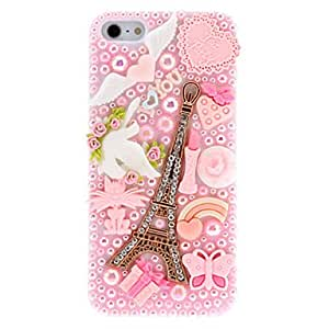 SUMCOM Special Design Golden Eiffel Tower Pattern with Diamond and Pearls Pink Hard Case for iPhone 5/5S