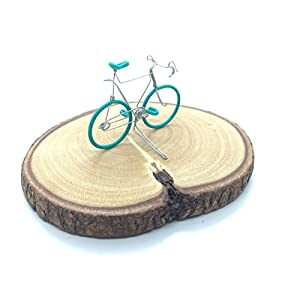 Small, Miniature Wire Bicycle Sculpture, Handmade Wire Bicycle for decoration with real wooden stand (Green)