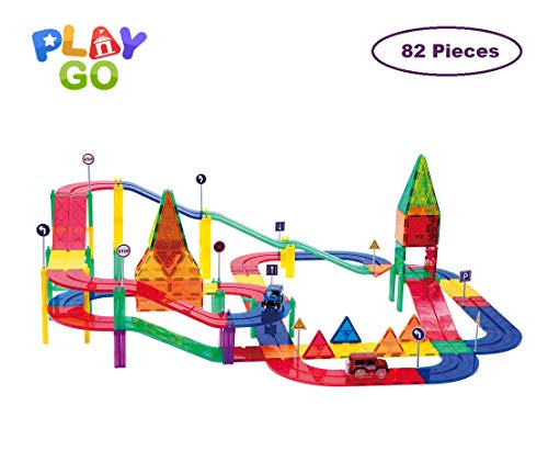PlayGo MagTracks Magnetic Tracks and Cars Clear Colors Set, Magnetic Building Tiles for Kids Creativity, Educational Magnetic 3D Tiles, Ideal Educational Toy for Children (82 Piece Set)