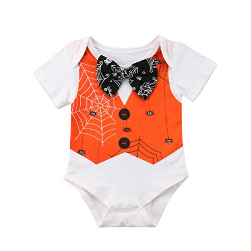Zoiuytrg Newborn Baby Halloween Costumes Boy Girl Short Sleeve Bow Tie Spider Romper Bodysuit Outfit Clothes -