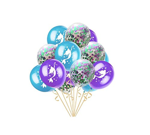 50pcs Mermaid Party Balloons Confetti Balloons Latex Balloons for Party Bridal Baby Shower Mermaid Birthday Party Decorations, 12inch (Purple & Light Green) ()