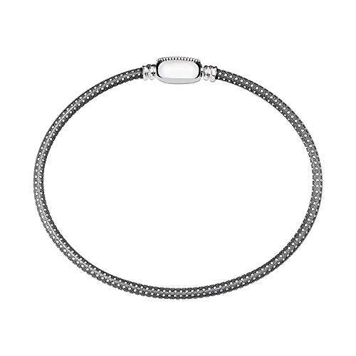 Chamilia Authentic Oval Touch Bracelet - Grain Texture, Oxidized in Small (6.77 Inches) 1010-0104