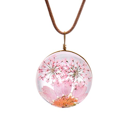 FM FM42 Pink Queen Anne's Lace Daisy Pressed Flowers Transparent Round Pendant Necklace FN4170