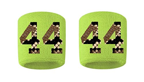 #44 Embroidered/Stitched Sweatband Wristband VOLT Sweat Band w/ PYTHON SNAKE PRINT Number (2 (Python Print Number)