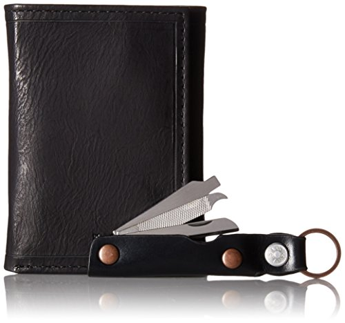Levi's Men's Wallet with Leather Wrapped Manicure Tool Gift Set, Black, One Size