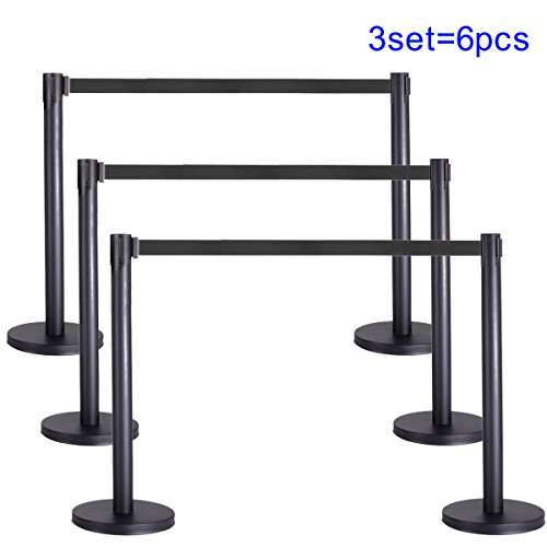 JAXPETY 6Pcs Black Stanchion Set w/ Black Retractable Belt Posts Queue Pole Crowd Control (Crowd Control Barrier)