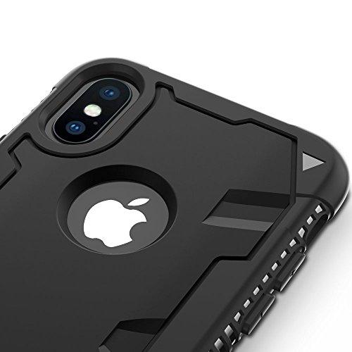 Zizo Etui avec Protection d'écran en Verre Trempé pour iPhone X Noir/Noir solide