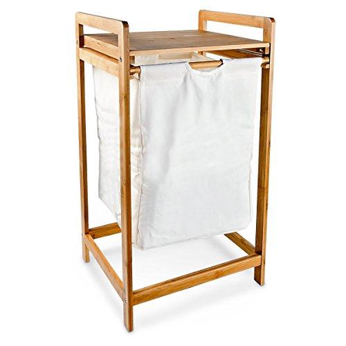 Relaxdays Wäschesammler LINEA Bambus HxBxT: 73 x 34 x 33 cm Wäschekorb aus Stoff mit einem Bambusgestell und Ablage zum Unterbringen von Wäsche als praktischer Wäschepuff mit seitlichen Griffen, natur