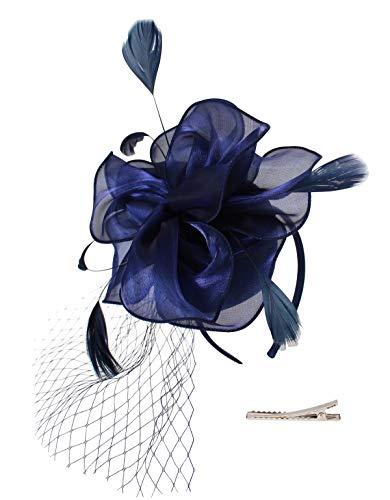 Felizhouse Flower Feather Fascinator Hats For Women Party Derby W/Headband Clip by Felizhouse