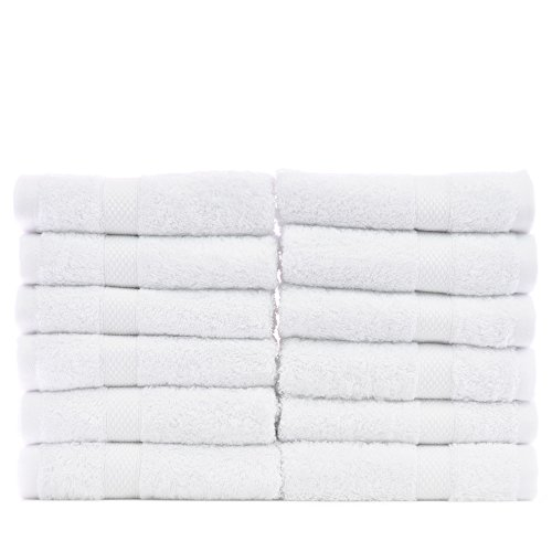 Chakir Turkish Linens Turkish Cotton and Bamboo Rayon Wash Cloth (Set of 12) - White -