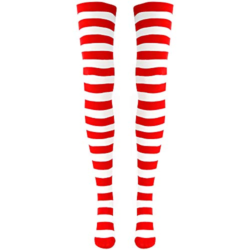 Skeleteen Red and White Socks - Over The Knee Striped Costume Accessories Red and White Stockings for Men, Women and ()