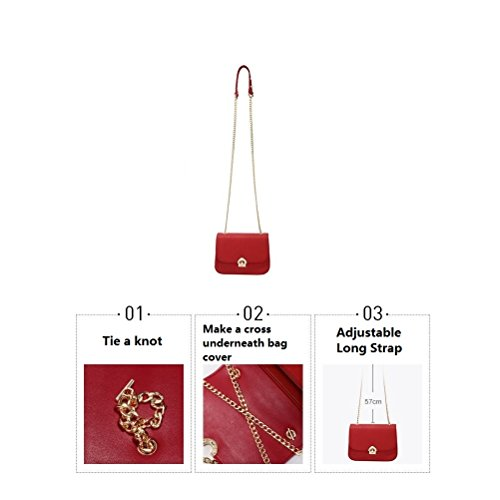 Gold JeHouze Leather Chain Metal Women Strap Crossbody Fashion Purse Handbag Red Genuine YUHRqU