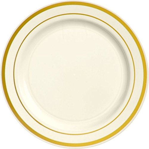 Amscan Elegant Premium Plastic Round Party Plates with Trim (10 Piece), 10 1/4