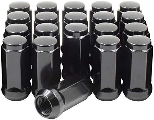 ホイールアクセサリーパーツ フルセット ラグナット クローズドエンド バルジ ドドングリ 長さ1.90インチ 19mm (3/4インチ) 六角 20 Lug M14x2.0 ブラック 301573BLK_