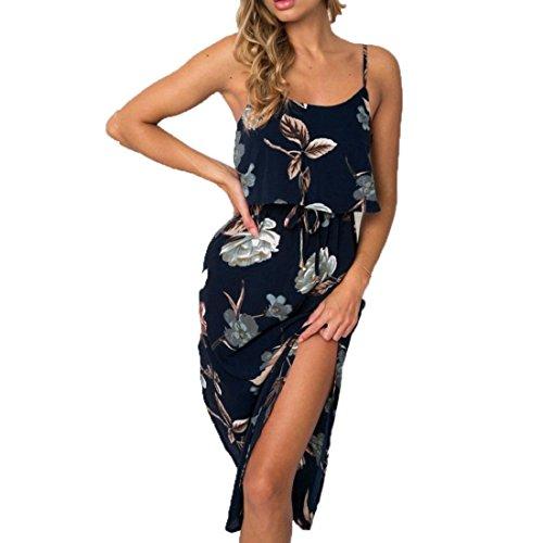 Damen Ärmellos Sommerkleid Träger Blumen Bedruckt Lange Strandkleid Maxikleid Camisole Ärmellos Split Sommer Strand langes Kleid Abendkleid Dunkelblau