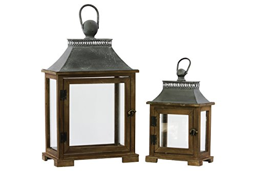 Urban Trends Wood Lantern with Metal Top and Ring Handle, Dark Stained Wood Finish, Set of (Urban Metals)