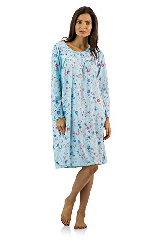 Casual Nights Women's Cotton Blend Long Sleeve Nightgown - Blossom Pintucked Blue - X-Large (Long Nightgowns Sleeve Shop)