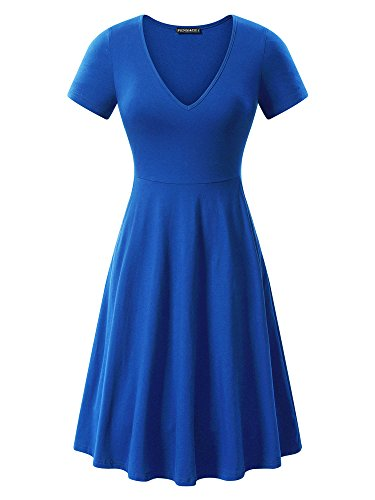 FENSACE Women's v-Neck Solid Short-Sleeve Knee Fit-and-Flare Dress, Blue, X-Large