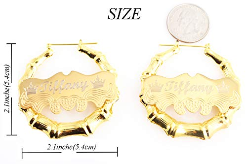 Custom Personalized Gold plated Hoop Name Bamboo Earrings 2.0'' Custom Made with Any Names by Tina&Co (Image #3)