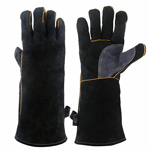 (KIM YUAN Extreme Heat & Fire Resistant Gloves Leather with Kevlar Stitching,Mitts Perfect for Fireplace, Stove, Oven, Grill, Welding, BBQ, Mig, Pot Holder, Animal Handling, Black-Grey 14 inches)