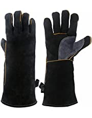 KIM YUAN Extreme Heat & Fire Resistant Gloves Leather with Kevlar Stitching,Perfect for Fireplace, Stove, Oven, Grill, Welding, BBQ, Mig, Pot Holder, Animal Handling, Black-Grey 14&16 inches