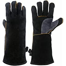 KIM YUAN Extreme Heat & Fire Resistant Gloves Leather with Kevlar Stitching,Perfect for Fireplace, Stove, Oven, Grill, Welding, BBQ, Mig, Pot Holder, Animal Handling, Black-Grey 16 inches