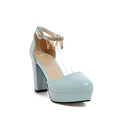 BalaMasa Ladies Metal Chain Round-Toe Soft Material Sandals Blue zFlumm