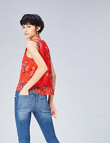 FIND Blusa con Volante Plisado para Mujer Rojo (Red Mix)