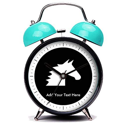 (GIRLSIGHT3 Blue Alarm Clock,Horse White Horse Head Loud Alarm Clock Twin Bell Alarm Clocks with)